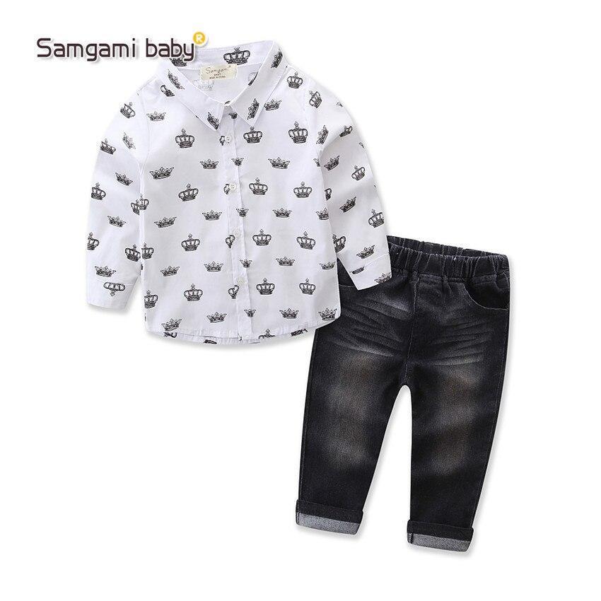 Boys Clothes font b Kids b font Clothes 2017 Autumn Boys Long Sleeve Crown font b