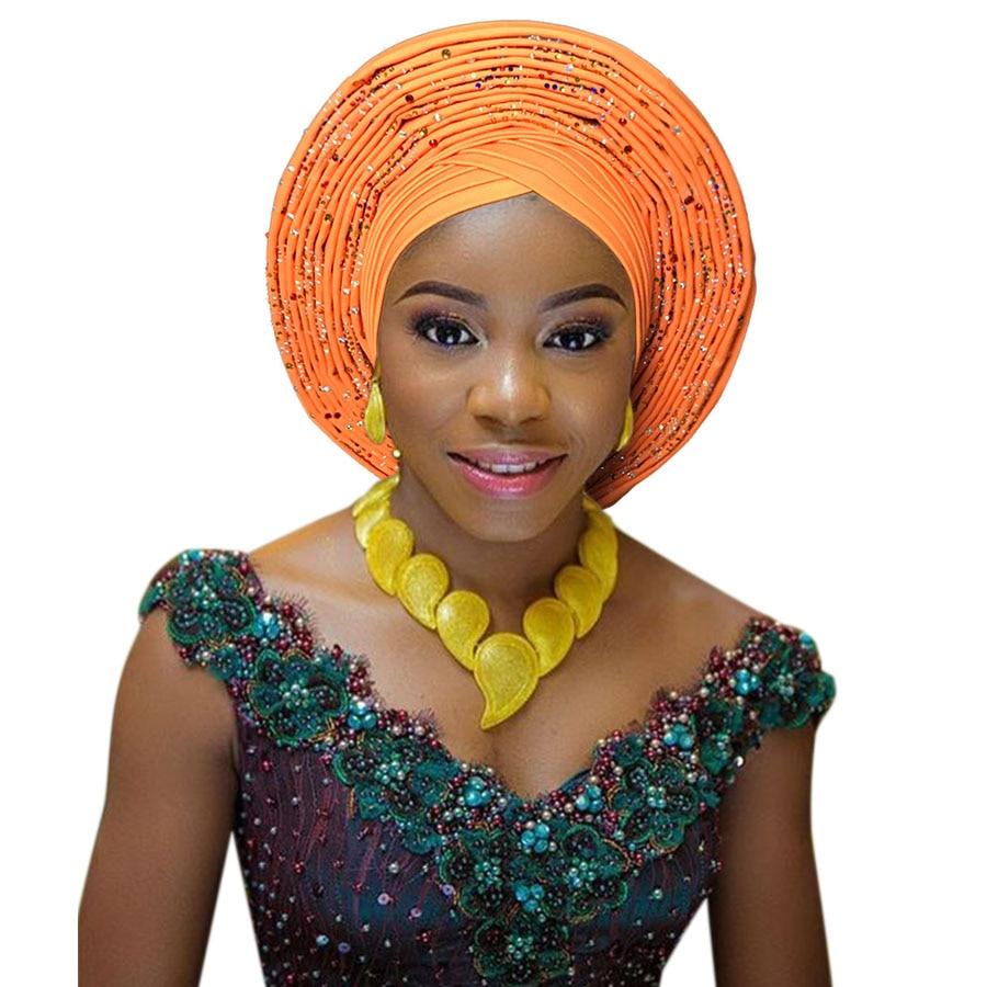2018 New african aso oke cotton headtie nigerian gele headtie already made auto hele turban cap aso ebi big brim gele (1)