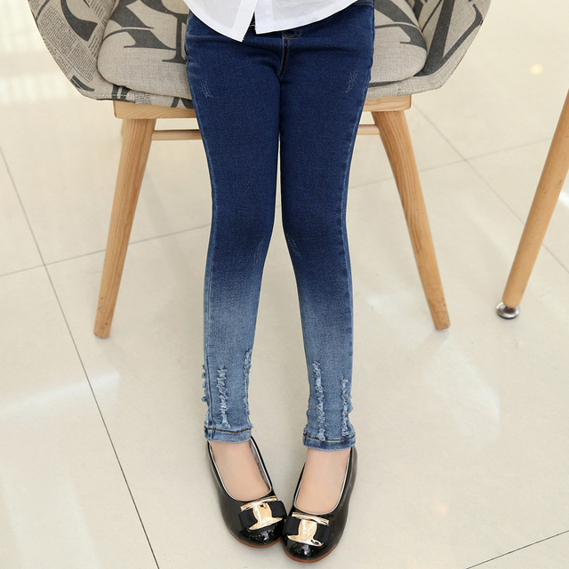 Jeans For Girls Autumn Winter Warm Jeans Thin Skinny Mid Elastic Waist Fashion Funky Jeans Girls Jeans Chlidren Clothing