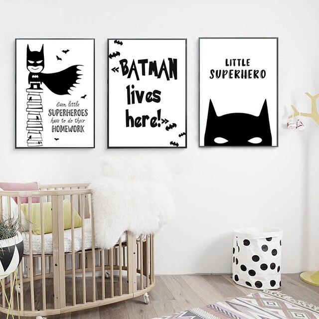 Us 5 6 Cartoon Batman Superheld Zitieren Leinwand Poster Minimalismus Malerei Wand Bild Drucken Moderne Kinderzimmer Dekoration Ungerahmt In Cartoon