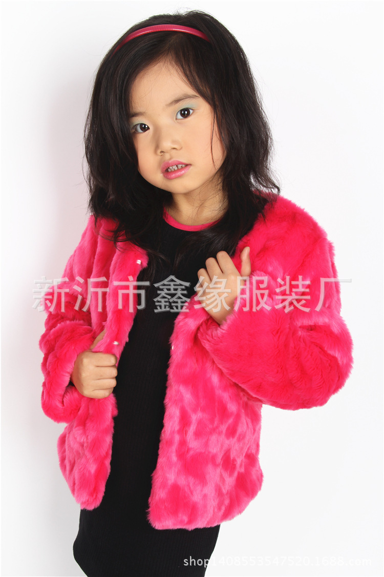 2015 New girl s faux fur coat children autumn and winter jacket kid s casual winter