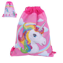 12pcs/lot Girl's backpack schoolbag unicorn cartoon printing mochila drawstring bag for kids cartoon non-woven fabric backpack(China)