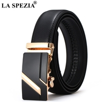 LA SPEZIA Real Leather Belt Men Business Automatic Buckle Belts For Gold Formal Luxury Designer Brand Male Cow