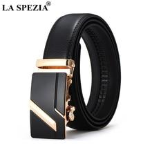 LA SPEZIA Real Leather Belt Men Business Automatic Buckle Belts For Gold Formal Luxury Designer Brand Male Cow