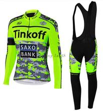 Free shipping! SAXO BANK 2015 #4 Winter thermal fleeced long sleeve clothes cycling jersey+bib pants bike bicycle wear set