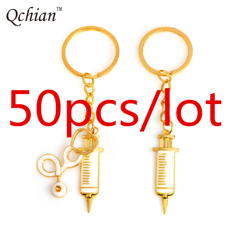 50pcs lot Doctor Who Key Chains Syringe Stethoscope Keychain for Doctors Nurse Jewelry Graduation Metal Medical