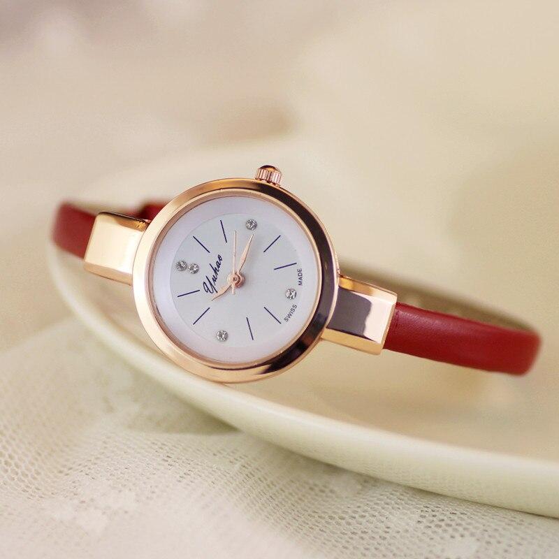 Luxury Yuhao Rose Gold Crystal Diamond Thin Leather Strap Quartz Wedding Watch Wristwatches for Women Ladies Girls