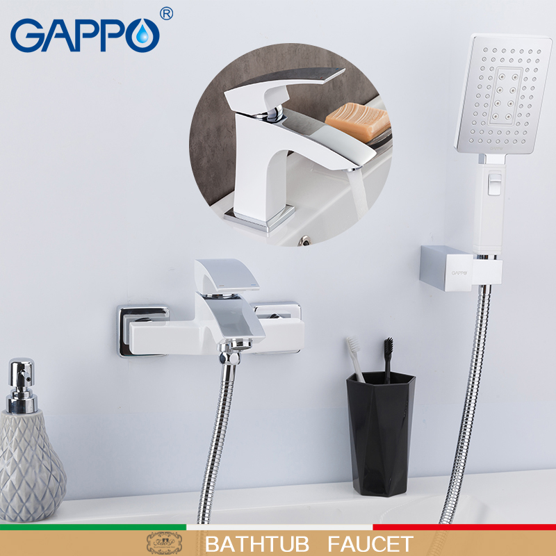 GAPPO Bathtub Faucets Bathroom White Bath Shower Mixer Bathtub Waterfall Faucet Shower Head Set Basin Mixer Saving Water Taps