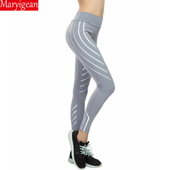 Maryigean Srtriped Printed Leggings Slim Fitness Women Sexy Black Mesh Yoga Pants Gym Running High Waist Leggings Workout 2019 mesh trim color block gym leggings
