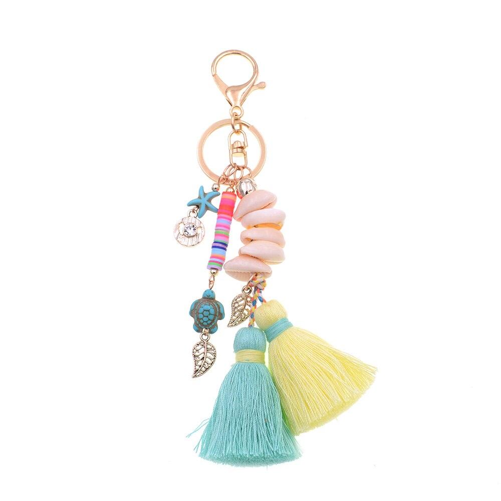 WELLMORE BOHO style keychain shandmade shell with long tassel alloy Key Chain For Women Girl Bag Keychain