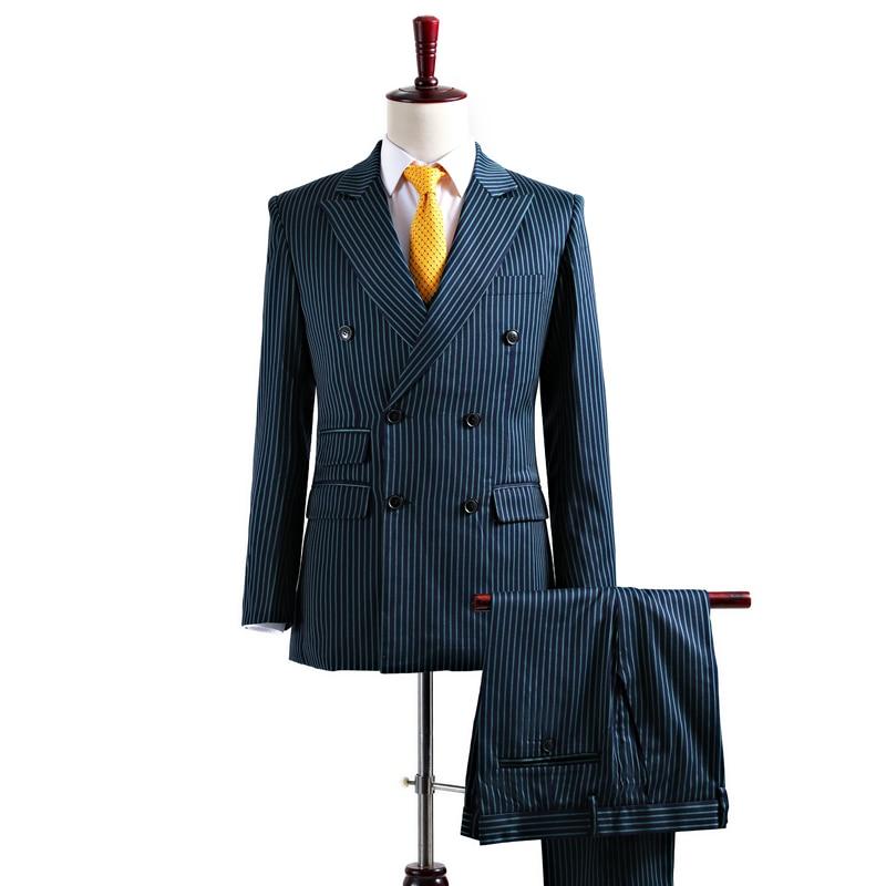 Custom Brand Fashion Men Suits Green Stripe Style Male Tuxedo Suit Blazer Slim Wedding Groom Prom Business Formal Tuxedo 3 piece