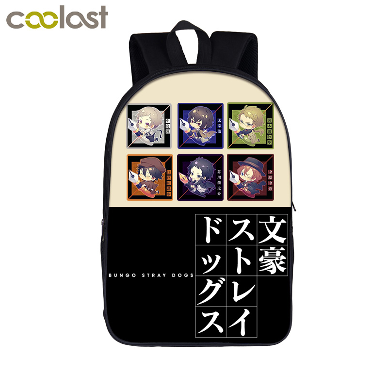 Anime Bungou Stray Dogs Backpack Teenage Girl School Bags Dazai Osamu Chuya Nakahara Women Men Backpack Bungo Stray Dogs Bag high quality anime bungou stray dogs men travel bags canvas fashion women shoulder messenger sling bags bolsa feminina