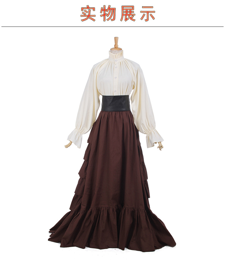 Medieval Renaissance Dress Boho Skirt Peasant Wench Victorian Ball Gown Costume