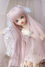 Perruques lisses longues couleur rose, perruques disponibles pour 1/8 1/6 1/4 BJD SD DD MDD accessoires de poupée