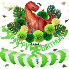NICROLANDEE 32 pcs/set Dinosaur Child Kid Happy Birthday Party Decoration Kit Roar Kids 1st Green Home New DIY