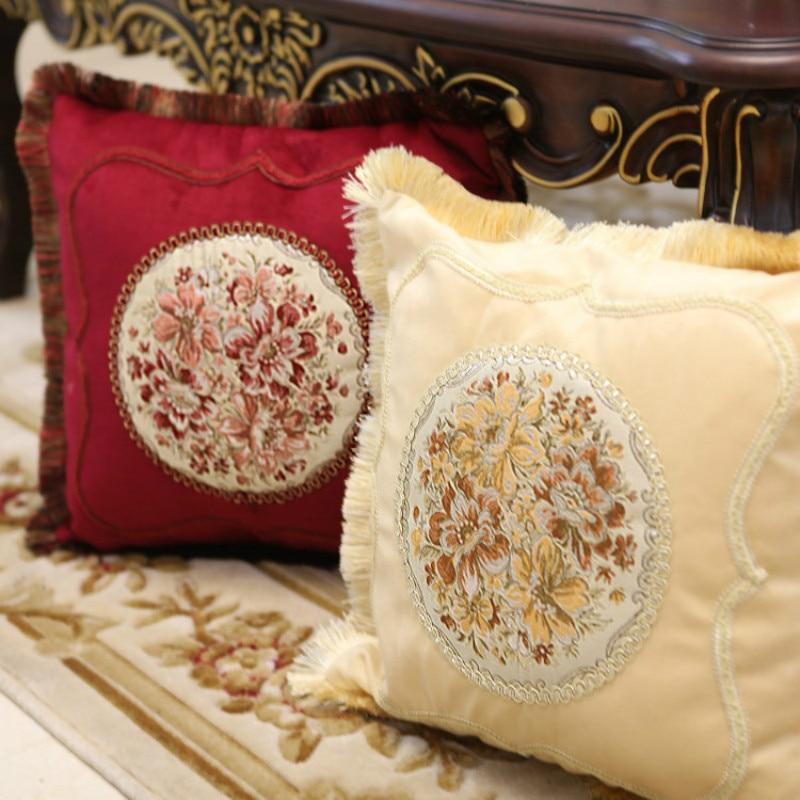 Velvet Pillow Cover European-style Gold embroidery Cushion Cover Home Decorative Pillow Case High-grade fabric Pillowcase
