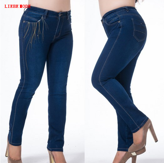 Womens Push Up Blue Jeans Long Pants Big Size Stretch Denim Jeans For Women High Waisted Pencil Jeans Mujer 4XL 5XL 6XL 7XL women jeans autumn new fashion high waisted boyfriend street style roll up bottom casual denim long pants sp2096