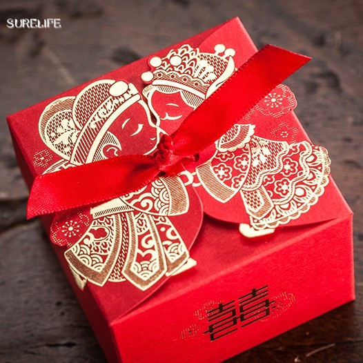 Affordable Wedding Gift: 50pcs Cheap Wedding Favor Boxeswith Ribbon Red Chinese