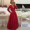 Lace Manga comprida Red Chiffon Prom Vestido de Festa Vestidos Sexy Sheer Voltar vestidos de egresados largos 2016 vestidos de gala