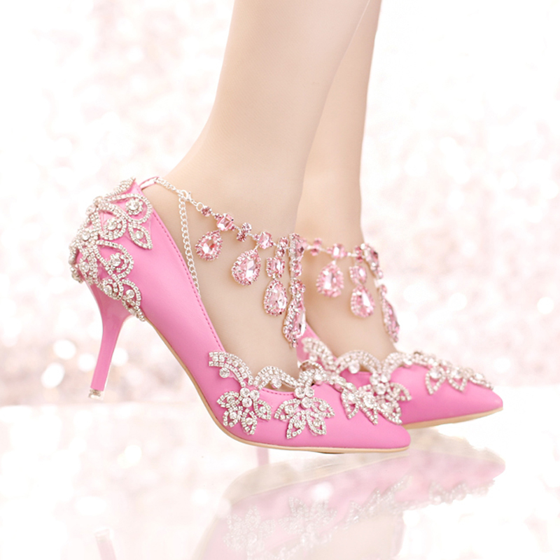 ФОТО New Designer Pointed Toe Rhinestone Wedding Shoes Crystal Tassel Ankle Strap Banquet Formal Dress Shoes Luxury Women Prom Pumps