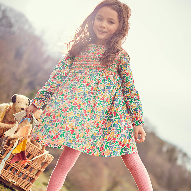 Little maven 2-7Years Baby Kids Girls Dress For Autumn New Children's Kids Girl's Long Sleeve Floral Print Beautiful Dress 4