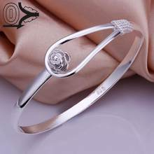 Free Shipping Wholesale Silver Plated Bangle,Wedding Jewelry Accessories,Fashion Silver Singlet Buckle Flower Bangles Bracelet(China)