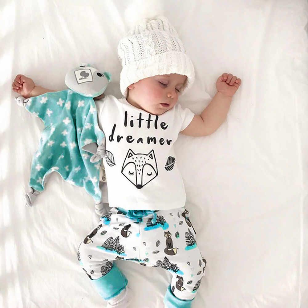 קיץ יילוד תינוק ילד ילדה 2 PC יילוד תינוקות תינוק בנות מכתב הדפסה למעלה חולצה + מכנסיים בגדי סט kiz bebek giyim #06