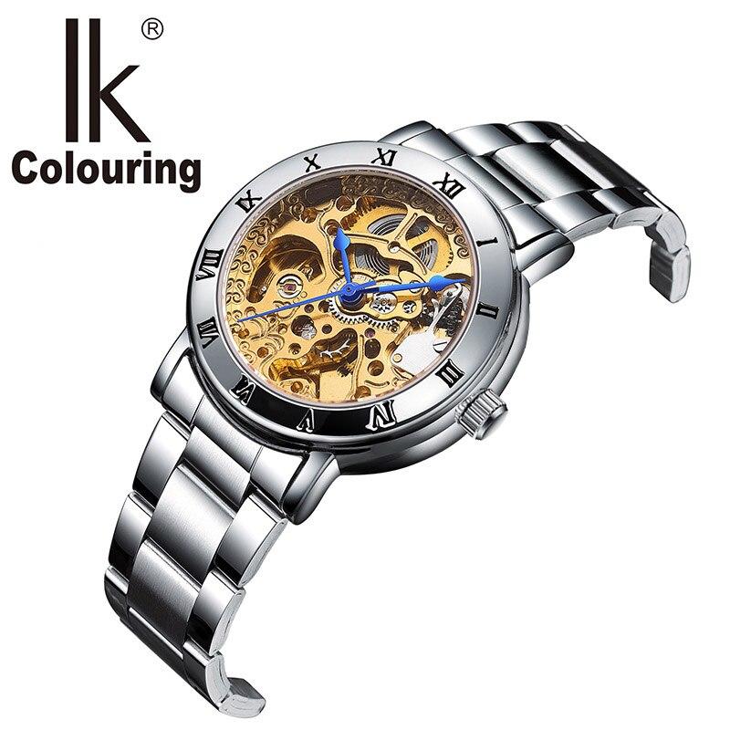 Relojes de esqueleto automático para mujer, relojes mecánicos de tono dorado, relojes de colores IK de marca superior famosa-in Relojes de mujer from Relojes de pulsera    1