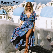 BerryGo V neck backless sexy vestido mulheres Boho floral imprimir praia maxi vestido de Verão de cintura alta tassel vestido longo vestidos 2018