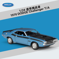 1:24 Scale WELLY Classic Metal Diecast Toy Car 1970 Dodge Challenger T/A Model Car Alloy Car Toys For Children Gifts Collection