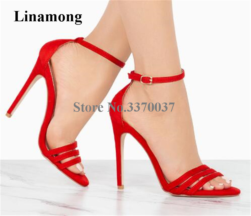 New Design Women Open Toe Front Three Straps Suede Leather Thin Heel Sandals Ankle Straps High Heel Sandals Red Black Beige Shoe fashionable women s sandals with cross straps and pu leather design