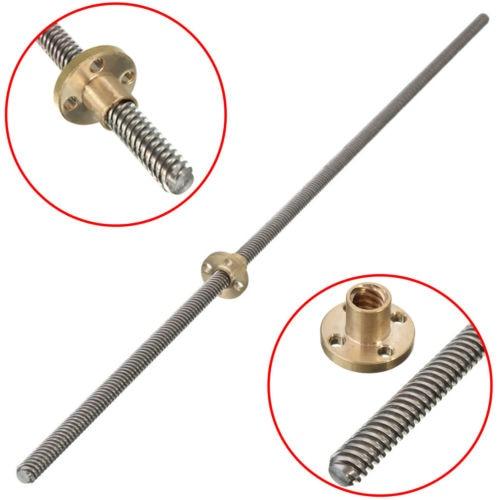 2pcs*250mm/300mm/350mm/400mm/500mm TR8*8 ACME Lead Screw Rod 2mm pitch Z Axis Linear Rail Bar Shaft 3D Printer spare parts|3D Printer Parts &…