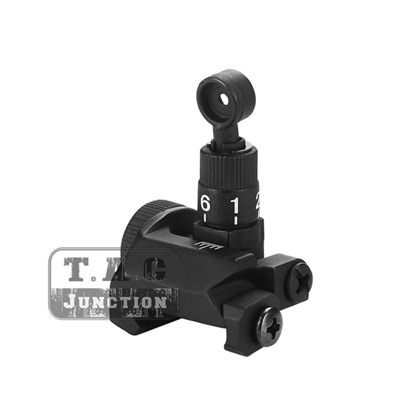 Tactical Hunting Folding SR16 Rear Sight Backup Iron Sight Flip-Up BUIS 600m Adjustable Single Aperture For 20mm Picatinny Rail