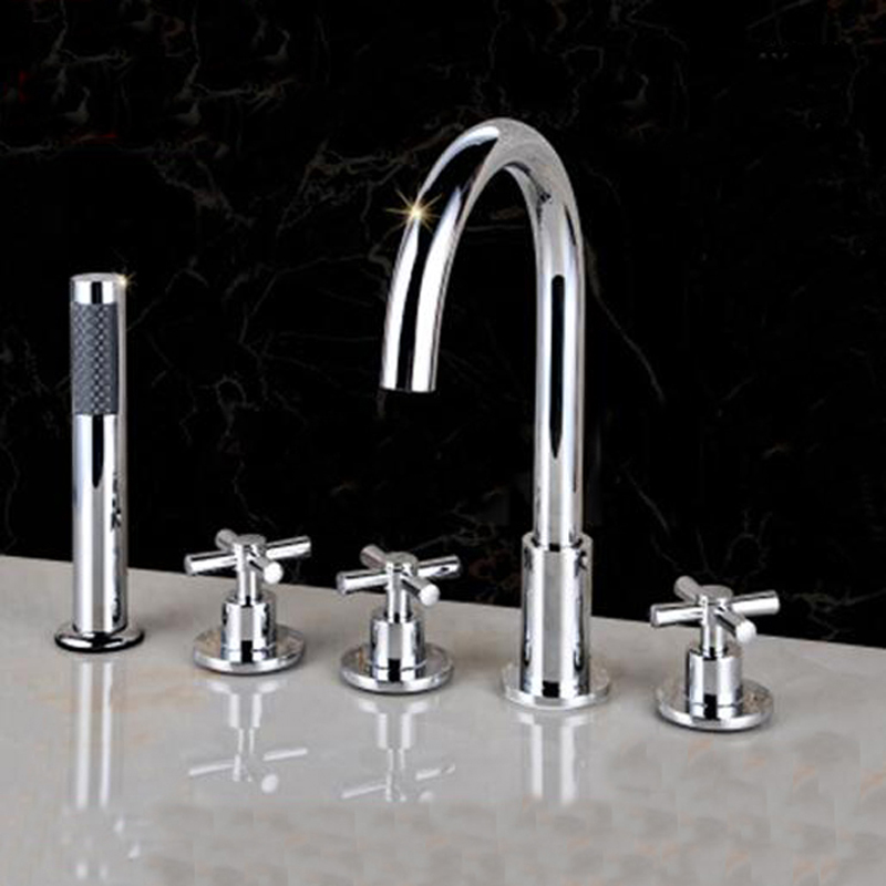 Polished Chrome Bathroom Tub Faucet 5 pcs Sink Mixer Tap W/ Hand Shower Sprayer wholesale and retail polished chrome brass waterfall spout bathroom tub faucet w hand shower sprayer mixer tap