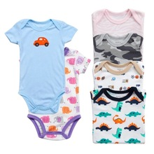 Купить с кэшбэком 5 pieces /LOTS Baby triangle clothes cotton short-sleeved bag fart clothing  short-sleeved jumpsuit romper children's clothing