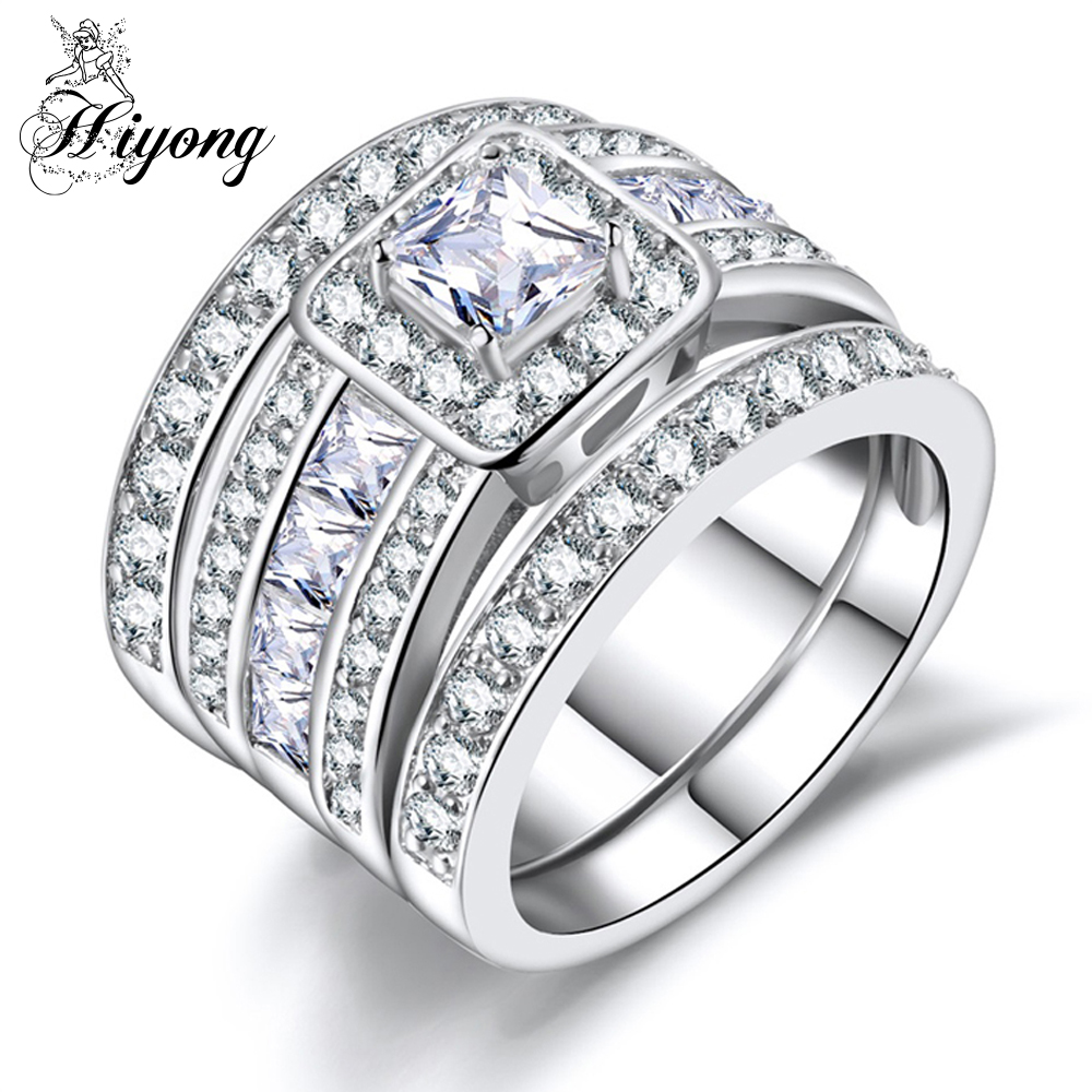 hiyong huge wedding ring set of 3pcs stacking matching band halo bridal jewelry accessory square cubic zirconia bisuteria bague in rings from jewelry - Huge Wedding Ring