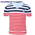 2016 Camisa Masculina Hot Sale Fashion Brand Striped Cotton T-Shirt Summer Mens Cotton V-neck Of Size M-2xl Free Shipping