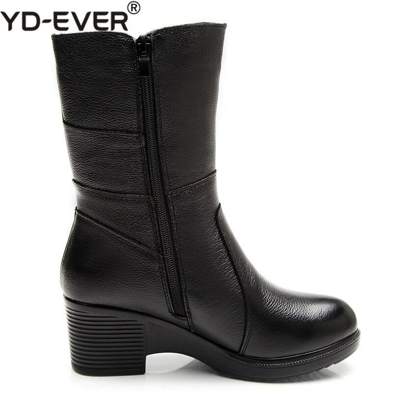 Black Media Nieve Yd Plush Pantorrilla Tacón Cuero H5528 ever Invierno Alto Genuino Black Zapatos short Cuña Mujeres Thick De Botas Botas SwqrP8SU