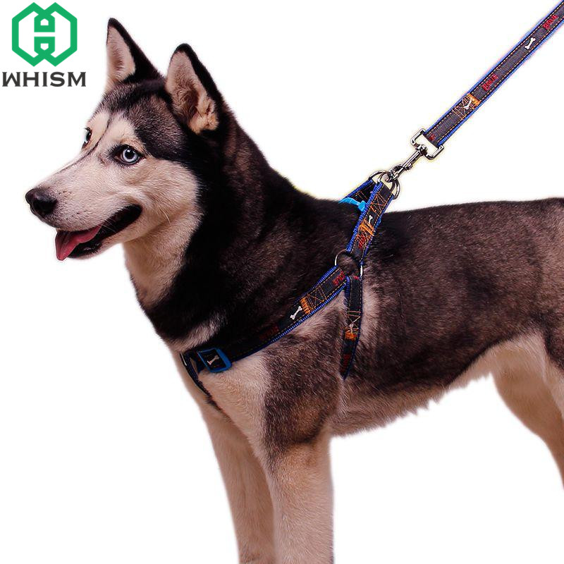 WHISM S/M/L/XL Adjustable Jean Dog Leash Harness Pet Collar Harness Dog Lead Pet Walking Harness Leash Set Pet Accessories