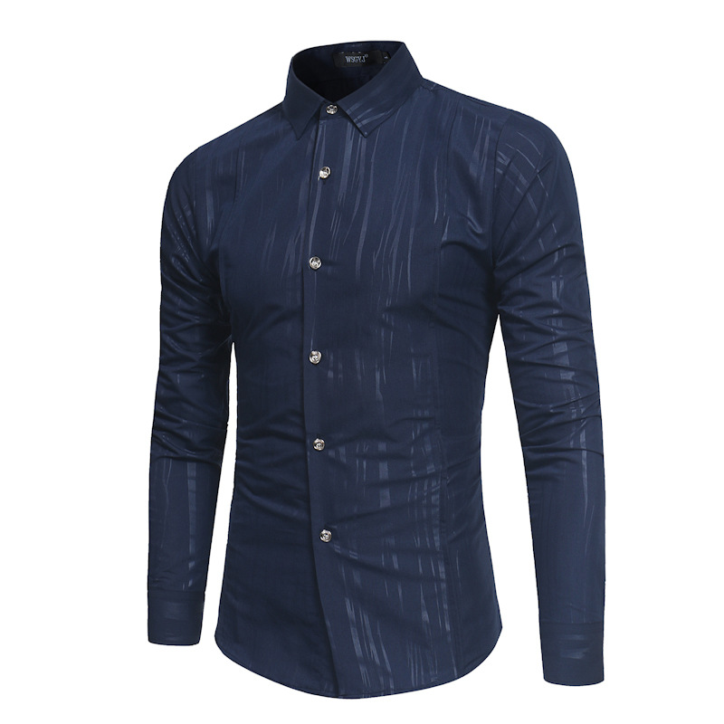 2018 New Arrival Men Casual Long Sleeve Shirt Slim Fit Turn Down Collar Shirt camisa masculina Top Quality Male Dress Shirt