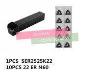 SER2525M22 External thread CNC Turning tool 1pcs+22ER N60 Carbide insert 10pcs 11pcs/set
