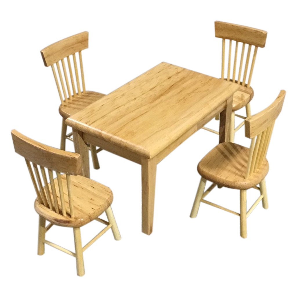 Kids House Miniature Furniture 1:12 Dollhouse Miniature Furniture Wooden Color Dining Table Chair Model Set Accessory 5.30
