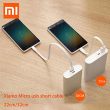 22/32cm Original xiaomi powerbank cable Micro USB short Charging Data Cable For Power bank Cable Android microUSB cabel cord