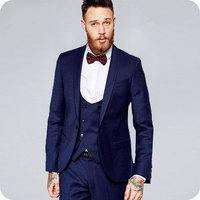 Королевские синие свадебные костюмы для мужчин смокинги для жениха шаль нагрудный двубортный жилет 3 шт. куртка мужские блейзеры костюм Homme