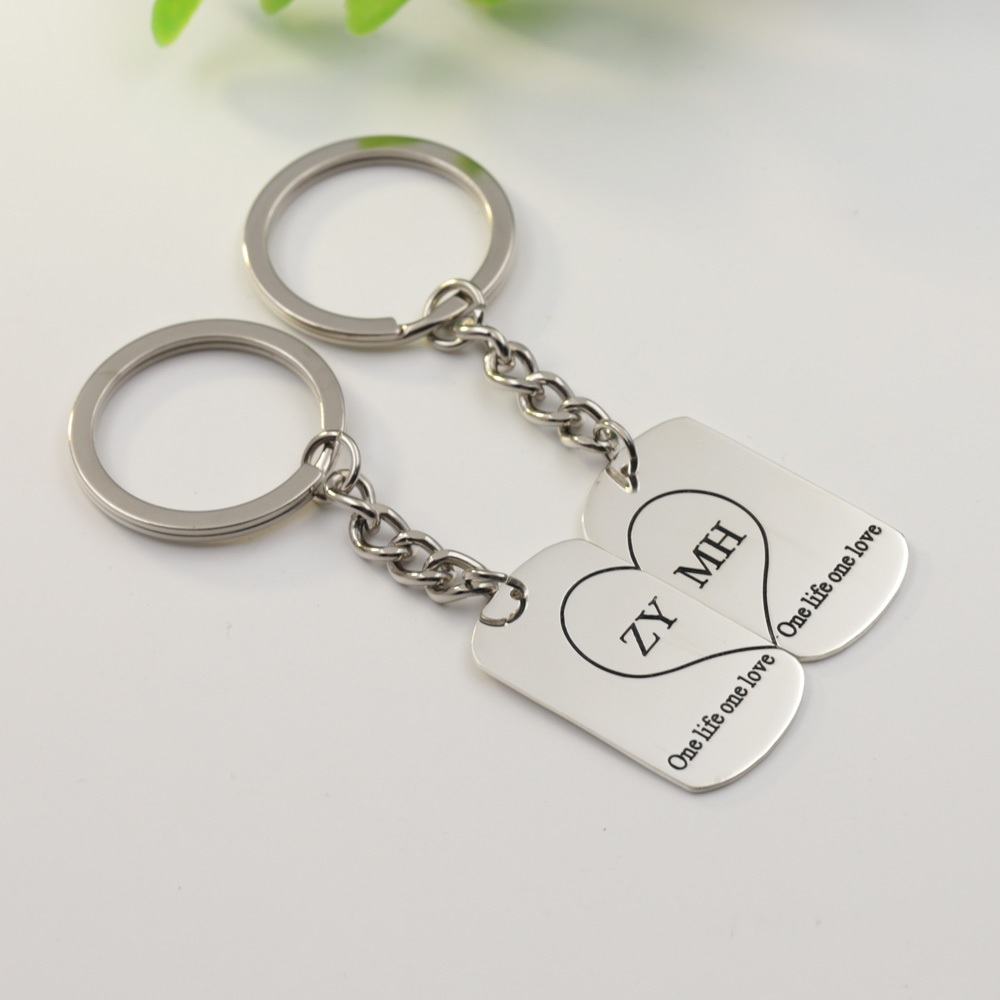 Wholesale 925 Solid Silver Couple Keychain Set Break Heart Key chain Personalized Name Engraved Custom Words Lover Keychain брелок couple lover keychain