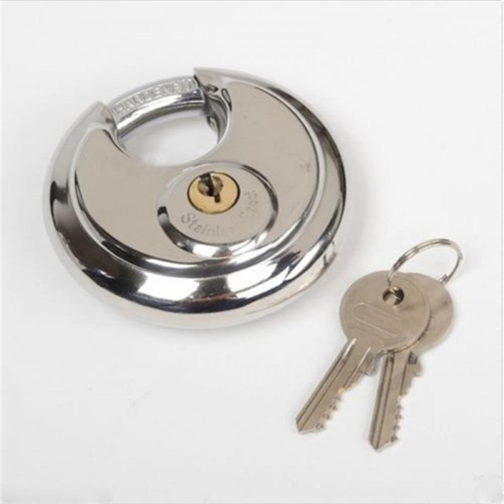 1PC 70mm Stainless Steel Armor Brass Cylinder Disc Padlock Round Lock with 2 keys 50pcs set 2 roloc sanding disc scotch brite roll lock coarse surface conditioning for stainless steel standard alloyed steel