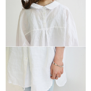 Image 5 - Blouse Womens White Blouses Shirt Spring Summer Blusas Office Lady Elegant Loose Tops and Blouses Casual Linen Women
