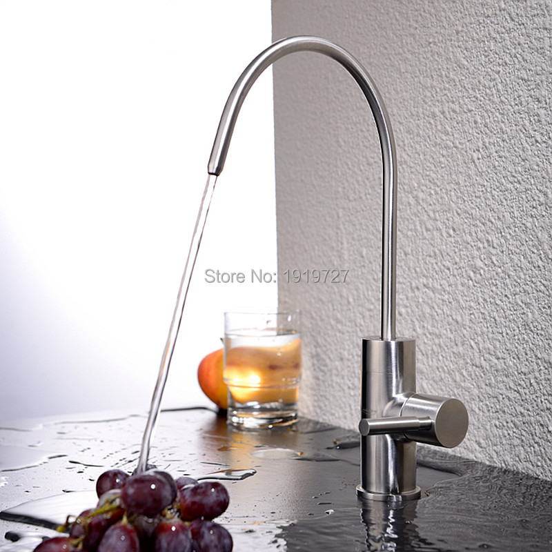 цена Best Modern Brushed Nickel Single Handle Kitchen Sink Dispenser Drinking Water Filter Faucet Stainless Steel Filtration Faucet