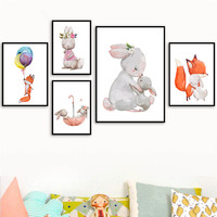 الشمال الكرتون الحيوانات الرسم على لوحات القماش الجدارية يطبع و الملصقات الطفل ديكور غرفة نوم الحضانة جدار الفن صورة الزخرفية LB208