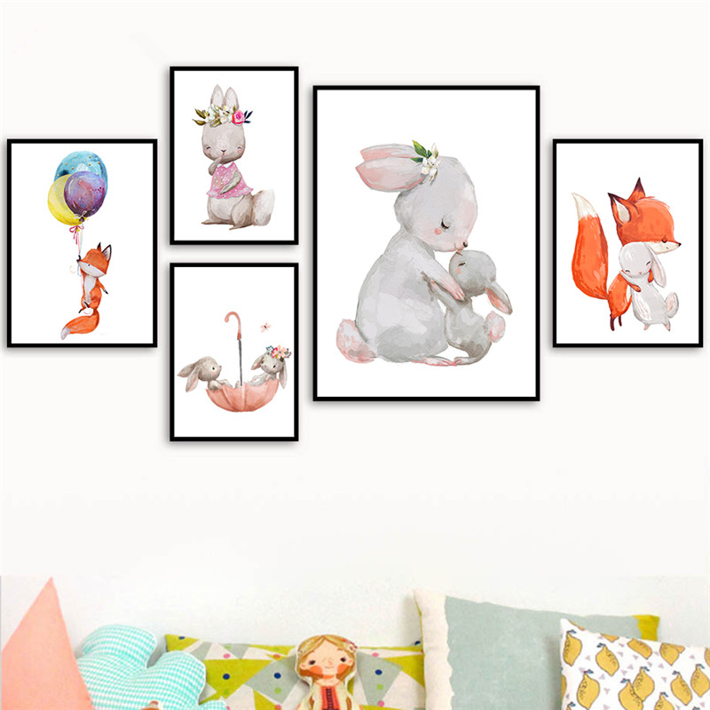 Nordic Cartoon Animals Wall Art Canvas Painting Prints  And Posters Baby Bedroom Decor Nursery Wall Art Decorative Picture LB208